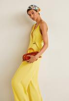 MANGO - Asymmetric long jumpsuit - yellow