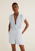 MANGO - Collared wrap playsuit - blue