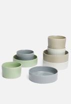 Excellent Housewares - Shallow stoneware bowls set of 4 - multi