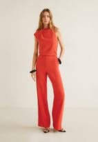 MANGO - Asymmetric shoulder long jumpsuit - red