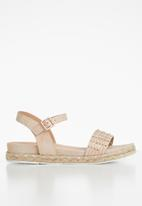 Butterfly Feet - Faux leather diamante flatform sandal - pink