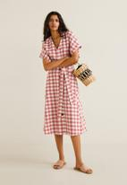 MANGO - Check pattern midi dress - red & white