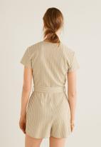 MANGO - Stripe printed short jumpsuit - beige & white