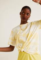 MANGO - Printed tie-dye tee - yellow & white