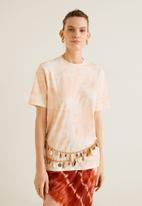 MANGO - Printed tie-dye tee - peach & white