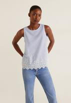 MANGO - Greta embroidered blouse - blue