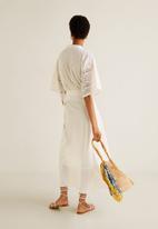 MANGO - Embroidered cotton blouse - white