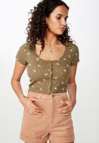 Cotton On - Lola waffle button through top - khaki