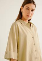 MANGO - Linen-blend oversized shirt - beige
