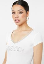 Sissy Boy - V-neck logo with bling trim - white