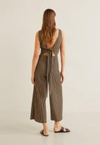 MANGO - Long striped printed jumpsuit with tie-waist - black & beige
