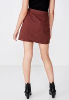 Cotton On - Woven Tyler utility skirt - burgundy