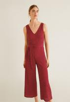 MANGO - Long spotted printed jumpsuit with tie-waist - red & white