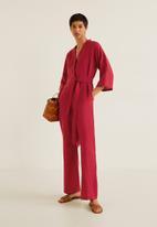 MANGO - Long linen-blend batwing sleeve jumpsuit - red