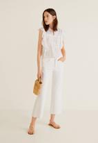 MANGO - Ruffle sleeve blouse - white