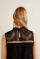 MANGO - Embroidered short dress - black