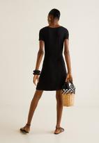 MANGO - Ribbed flared jersey dress - black