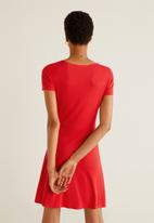 MANGO - Ribbed flared jersey dress - red
