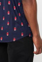 Brave Soul - Can printed short sleeve shirt - navy