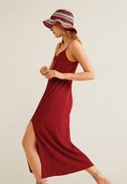 MANGO - Polkadot printed textured dress - red & white