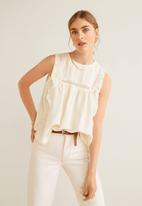 MANGO - Lace detail blouse - off white