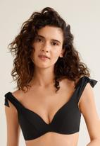 MANGO - Wide strap bikini top with bow detail - black