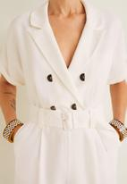 MANGO - Collared wrap short jumpsuit with button detail -  white