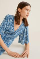 MANGO - Flower print dress - blue & white