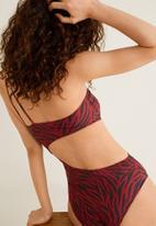 MANGO - Zebra print swimsuit - red & black