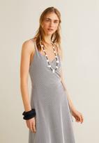 MANGO - Striped wrap dress - navy