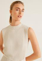 MANGO - High neck top with tie detail - beige