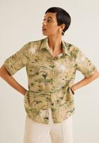 MANGO - Linen shirt with elephant print - beige