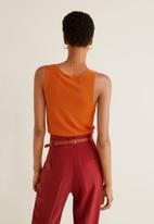 MANGO - Knotted knitted top - orange