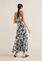 MANGO - Floral print dress with tie straps - blue & off white