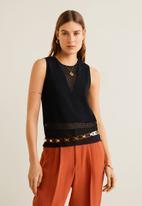 MANGO - Sleeveless knit top - black