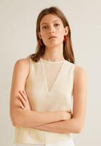 MANGO - Sleeveless knit top - cream