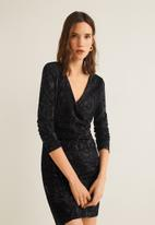 MANGO - Snake print wrap dress - black