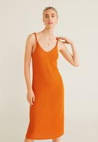 MANGO - Knit shift dress - orange