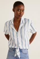 MANGO - Knot detail shirt - blue & white