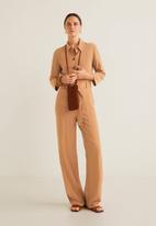 MANGO - Longer length jumpsuit with belt - brown