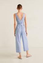 MANGO - Long wrap jumpsuit with belt - blue