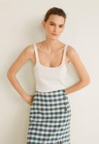 MANGO - Gingham print skirt - green & white