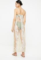 Missguided - Premium lace cowl neck maxi beach dress - neutral