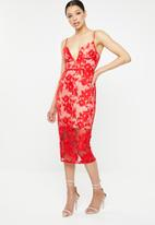 Missguided - Embroidered mesh scoop plunge midi dress - red