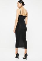Missguided - Slinky milkmaid cami bodycon midi dress - black