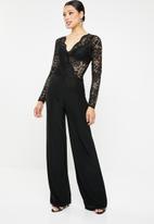 Missguided - Lace long sleeve wide leg jumpsuit - black