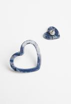 STYLE REPUBLIC - Heart earrings - blue