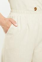 Missguided - Linen turn up cigarette trouser - beige