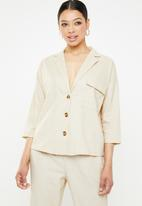 Missguided - Linen tortoise shell shirt - beige