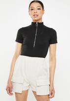 Missguided - Zip front high neck bodysuit - black